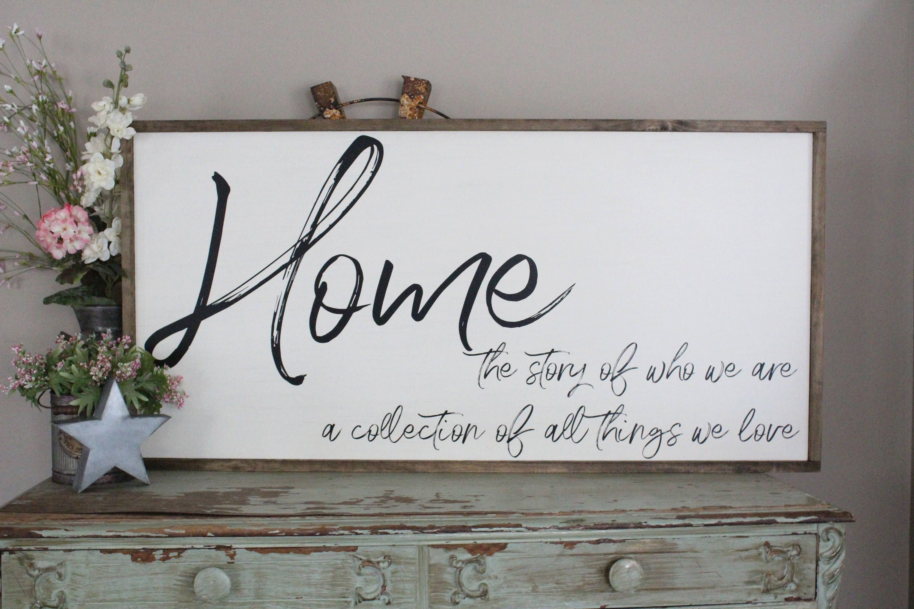 Home Is The Story Of Who We Are Wood Sign Welcome Home Wall Art Farmhouse Decor Wood Sign Saying Large Wood Sign Living Room Sign Wood Signs Sayings Home Wall Art