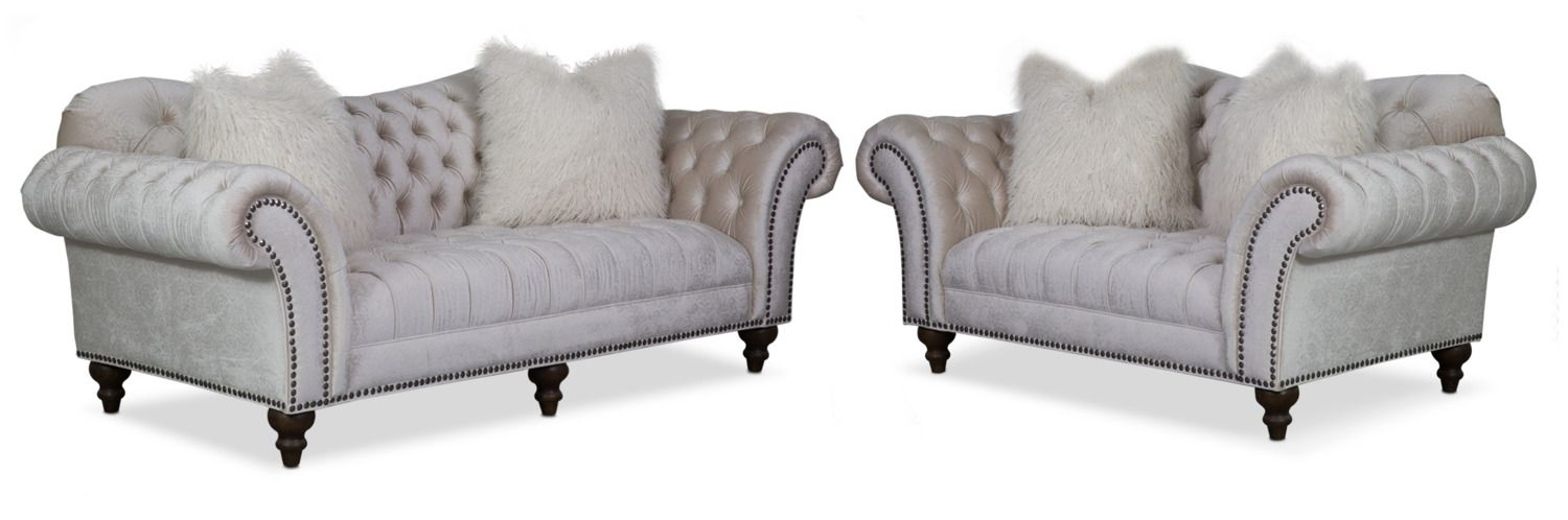 Living Room Furniture Brittney Sofa And Loveseat Set Ivory Sofa And Loveseat Set Furniture Living Room Colors