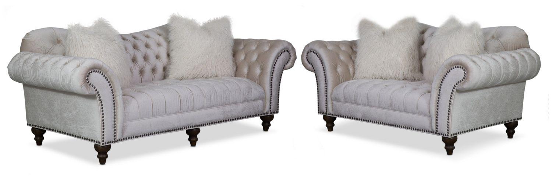 Living Room Furniture Brittney Sofa And Loveseat Set Ivory