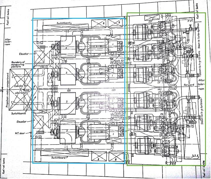 te ss NORMANDIE Figure 23 Turbo generator Room Upper Platform