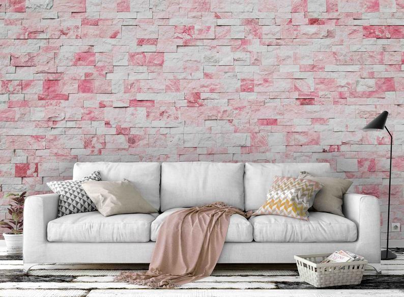 3d Pink Brick Wall Romantic Wallpaper Mural Peel And Stick Etsy Brick Wall Wallpaper Mural Wallpaper Romantic Wallpaper