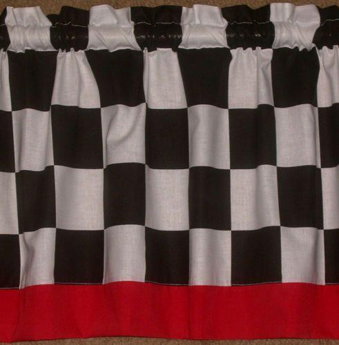 3 Colors Blue Red Black Border Nascar Checkered Flag 14 Curtains