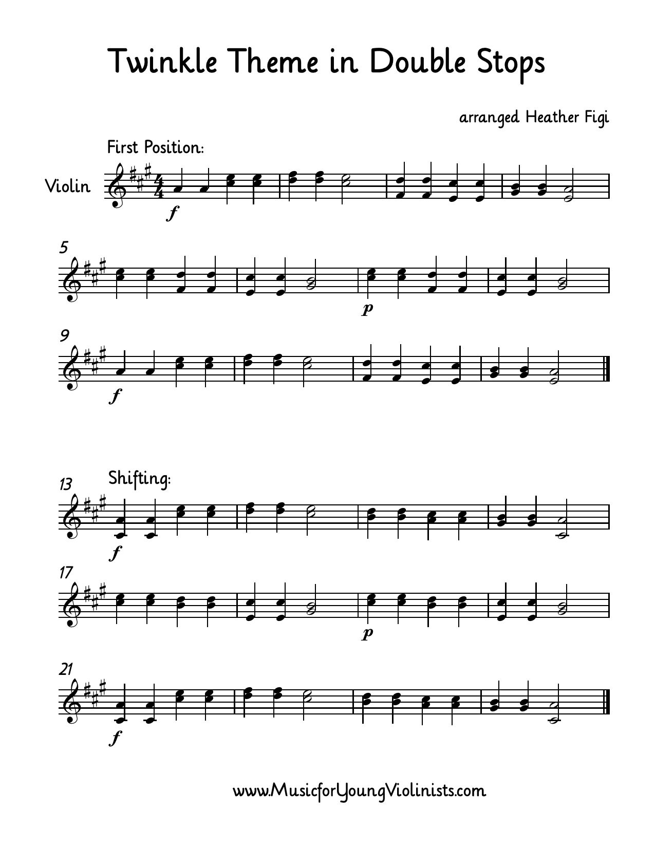 Violin Music Twinkle Theme Arranged With Double Stops First