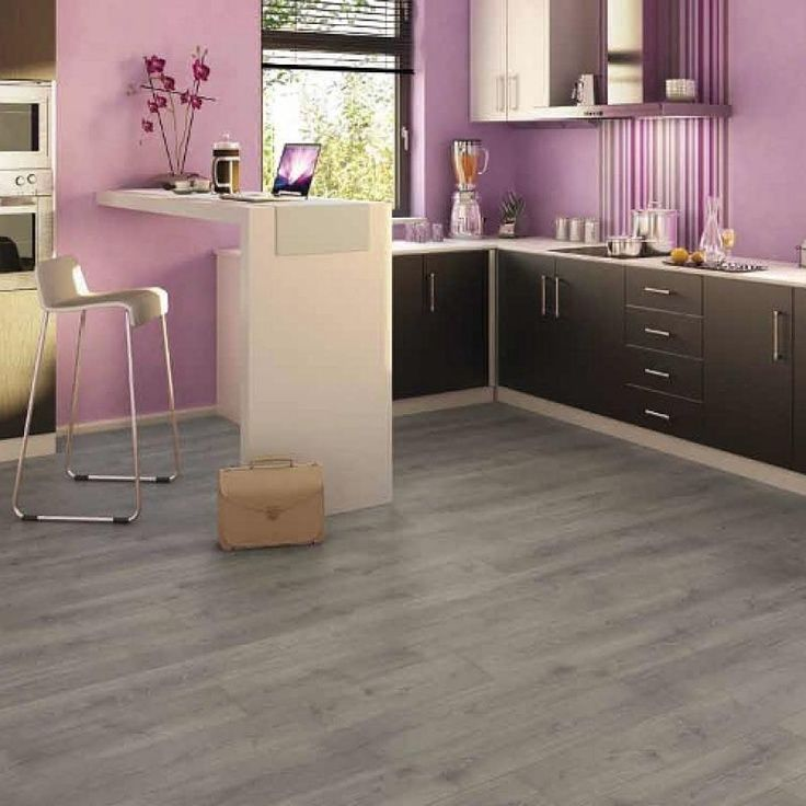 pink kitchen with grey laminate flooring - Laminate Kitchen Flooring