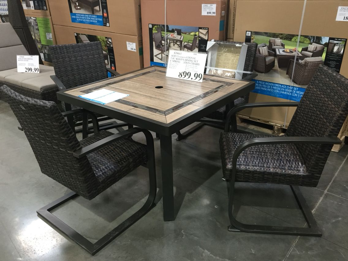 Agio International 5 Piece Dining Set With Motion Chairs At Costco