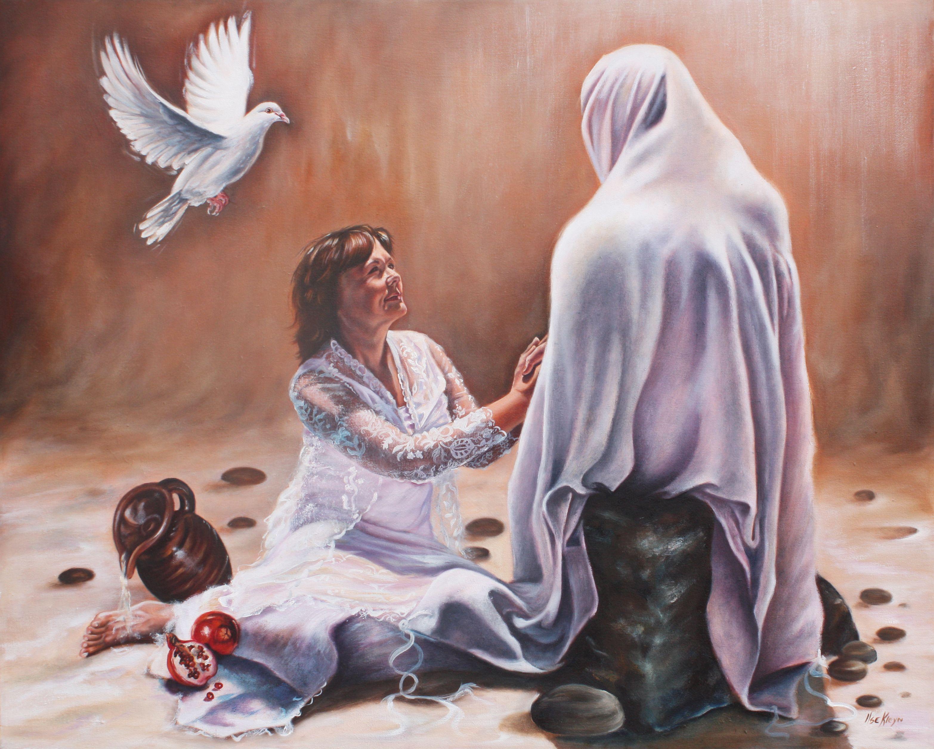 Sitting at the feet of my  Bridegroom. Oil on canvas by Ilse KLeyn. www.artofkleyn.com | Holy spirit art, Prophetic art, Christian art