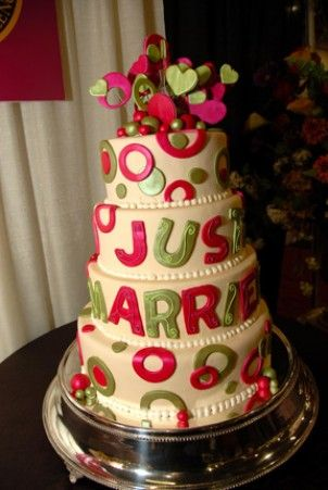 Pleasing Whimsical And Colorful Just Married Wedding Cake From Simmas Funny Birthday Cards Online Hetedamsfinfo