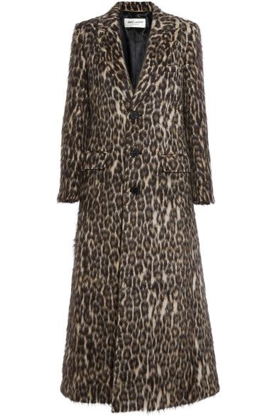 Saint Laurent's striking coat is cut long in length - a key trend this season. Made from a blend of alpaca, wool and cashmere that's been brushed for a luxuriously soft feel, this leopard-print piece has a slim fit with a deep back slit for ease of movement. Make the pattern pop against black jeans.