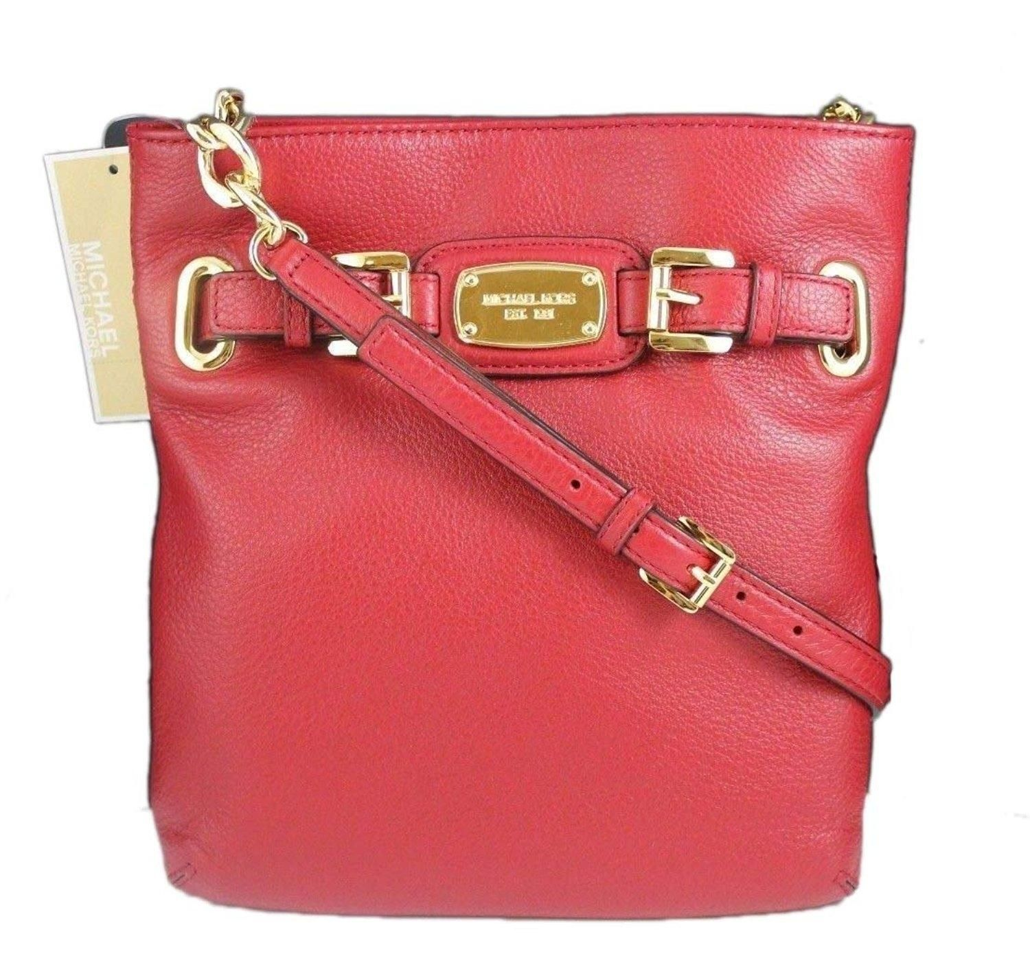 b8f30748c651 MICHAEL Michael Kors Hamilton Large Crossbody Leather Red Satchel. Save 43%  on…