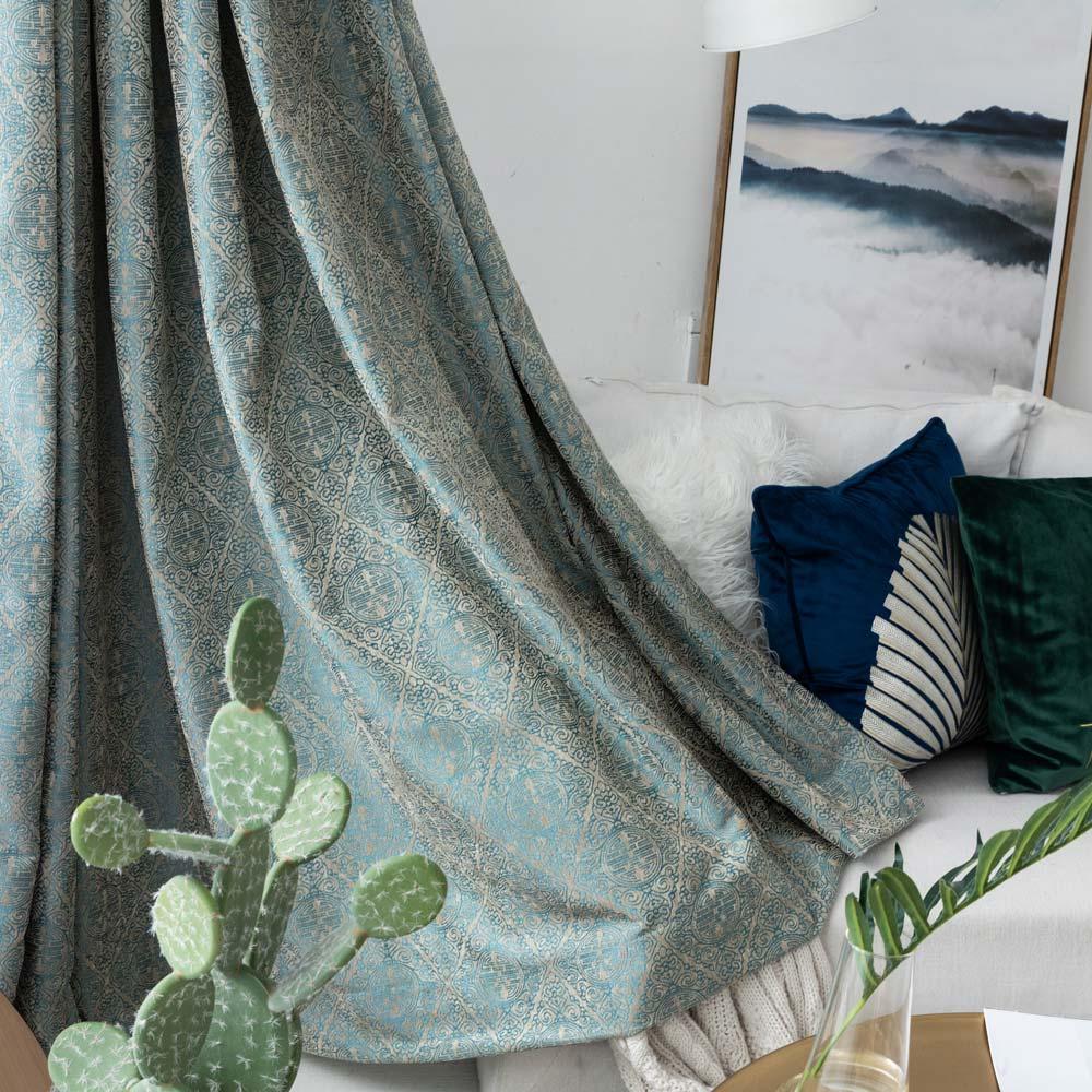 Luxus Stil Vorhang Jacquard Design Aus Polyester Blickdicht