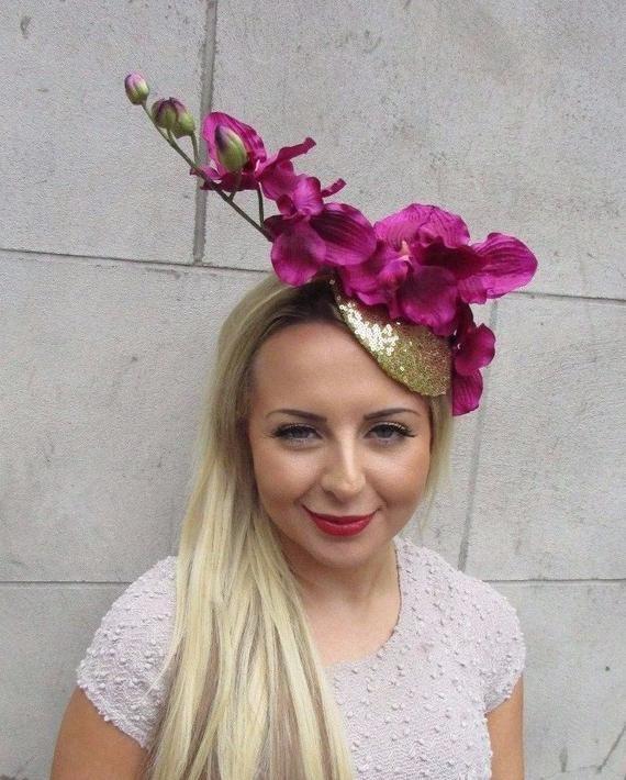 Gold Hot Pink Orchid Flower Fascinator Hat Wedding Hair Races Headband Vtg 3158 #fascinatorstyles