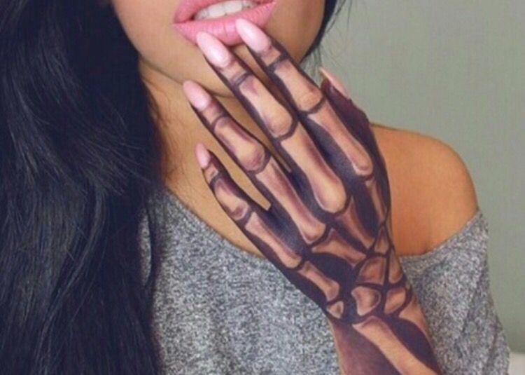 Skeleton hand makeup … | Halloween | Pinterest | Skeletons, Makeup ...
