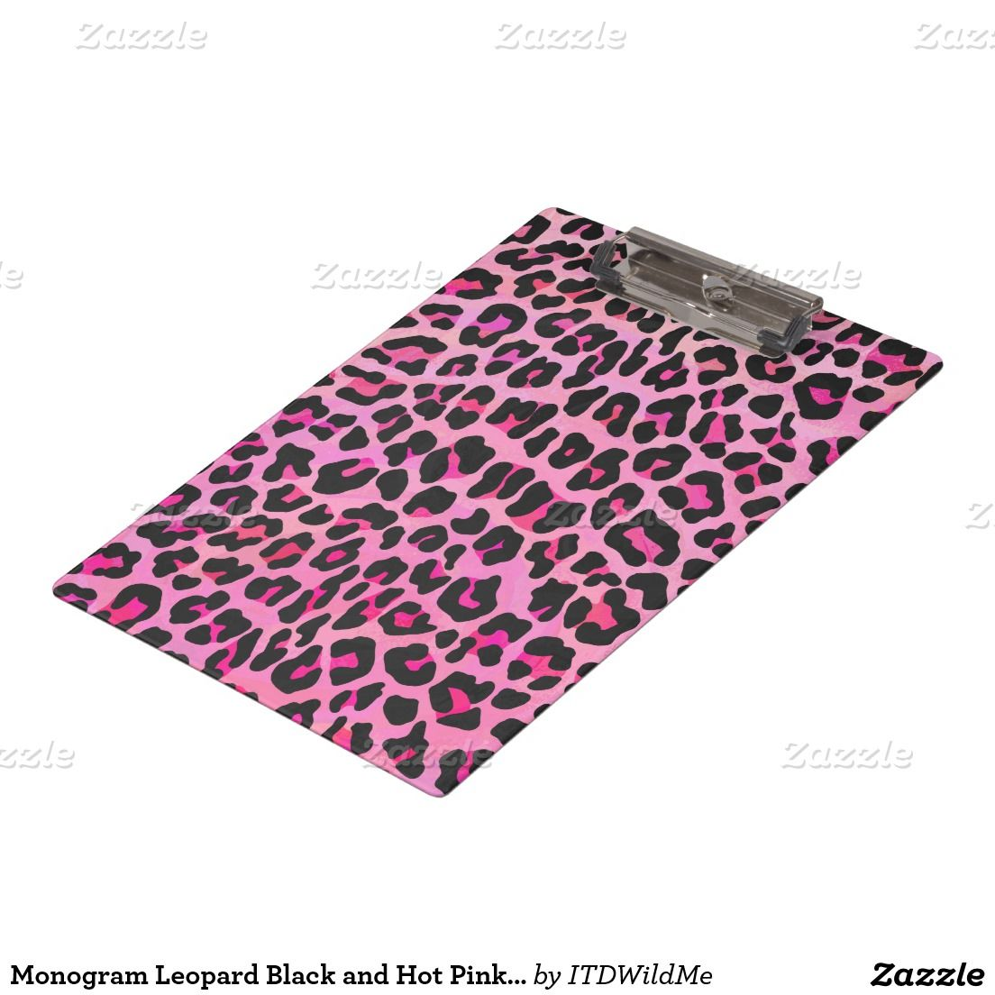 Monogram Leopard Black and Hot Pink Print Clipboard