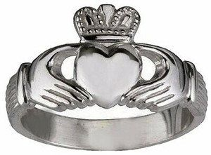 Coeur Claddagh Celtique opale blanc mariage fiançailles Sterling Silver Ring Set