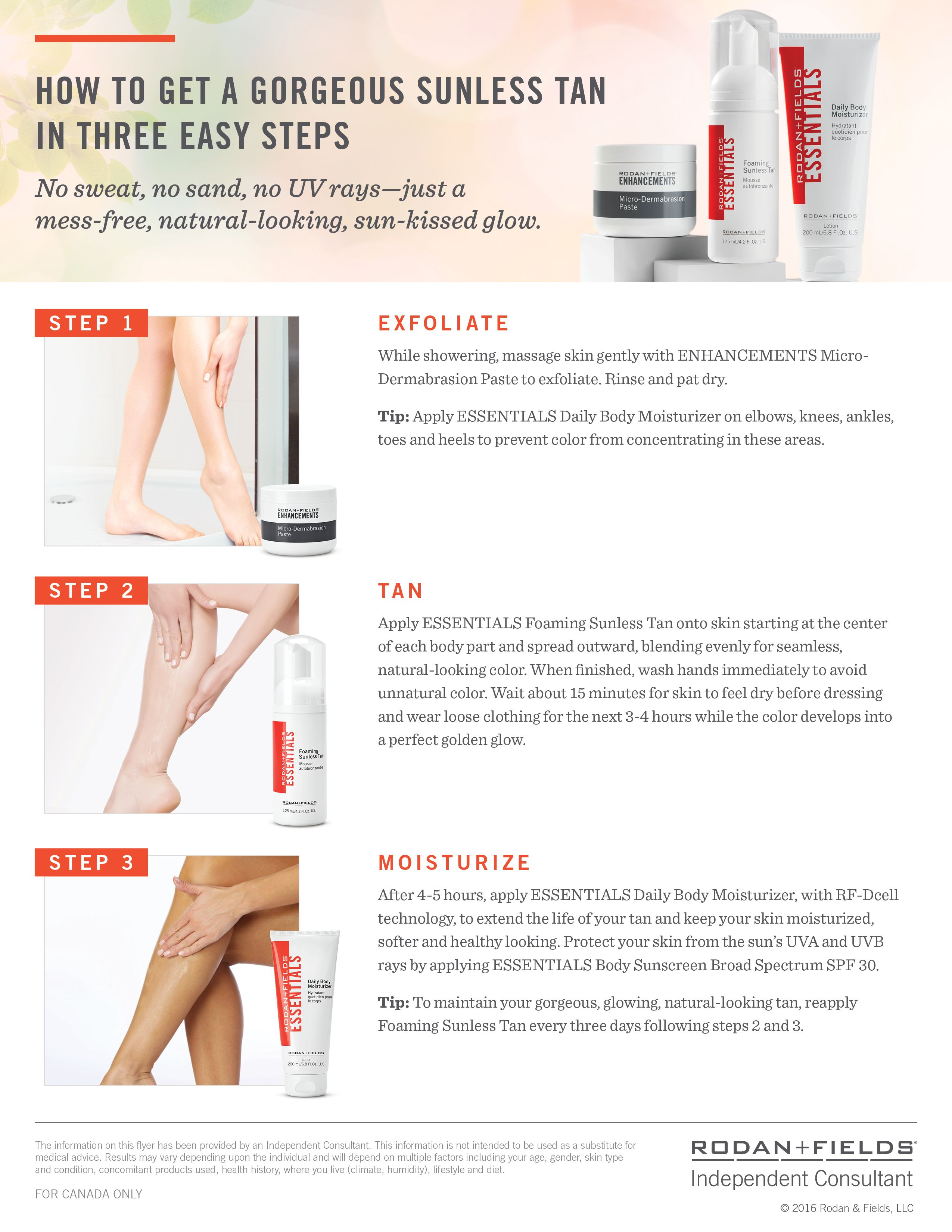 Great summer sunless tanning! Rodan and fields, Foaming