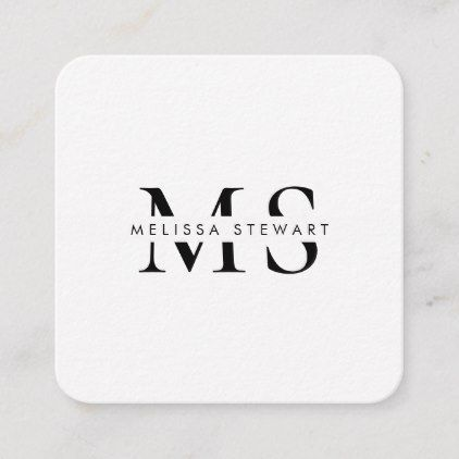Elegant monogram modern black white rounded square business card | Zazzle.com