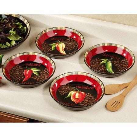 Chili Pepper 4 Piece Soup Bowl Set Stuffed Peppers Chili Peppers Decor Soup Bowl Set