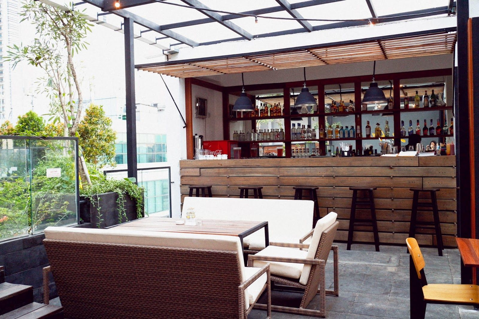 Kitchen Design Rooftop With Mini Bar Wooden Furniture Natural Lighting Interesting Also