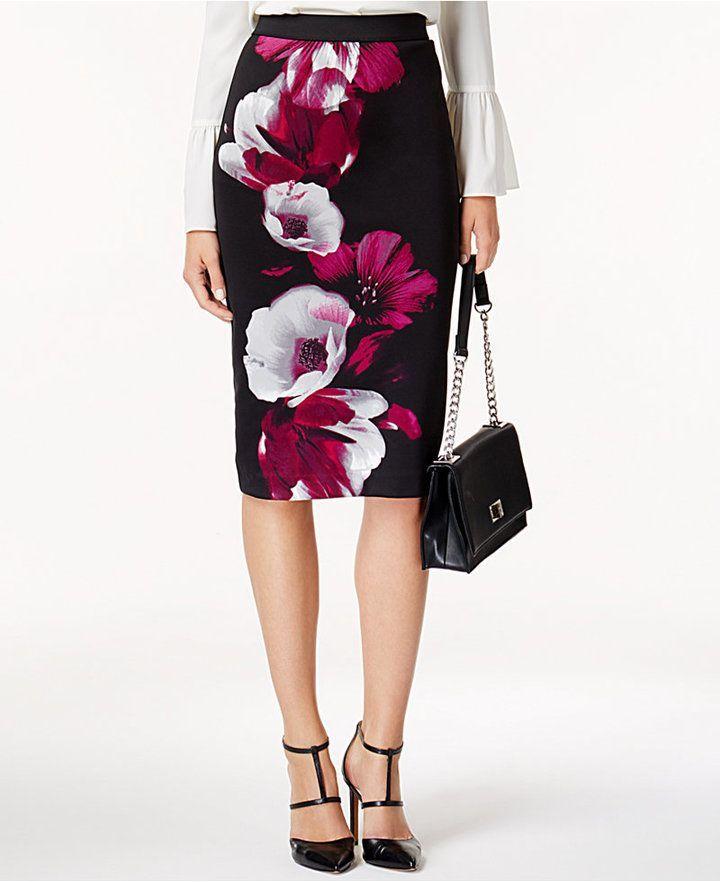 Alfani Printed Midi Pencil Skirt, Created for Macy's | Classy | outfits | clothe...