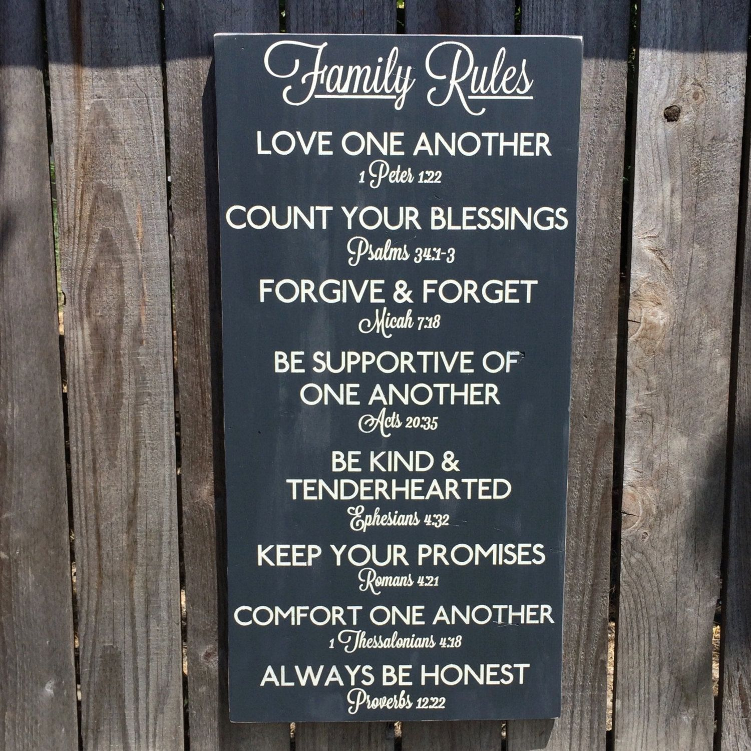 Family Rules Sign with Scripture CUSTOMIZABLE