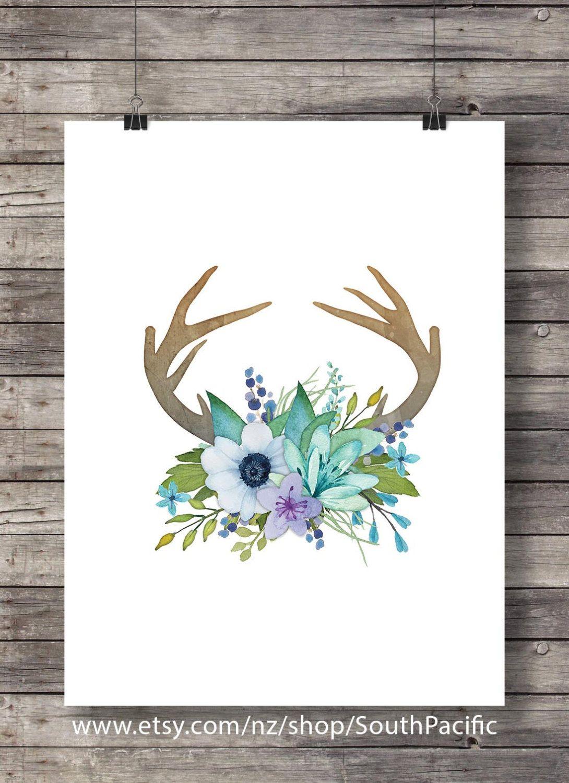 Watercolor antlers flowers print printable whitetail deer antlers