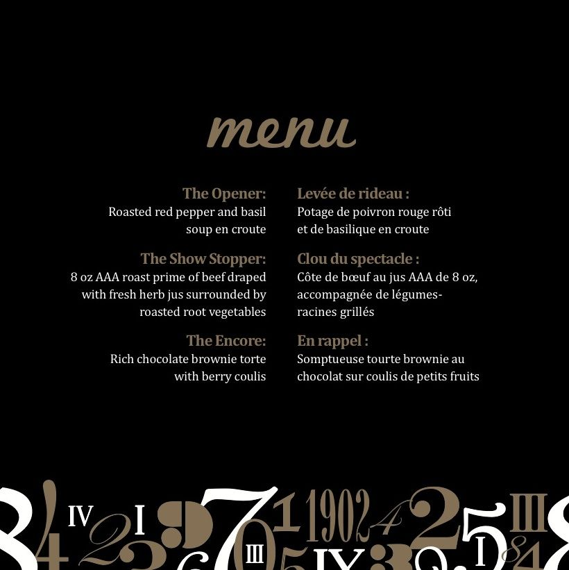 corporate dinner set up harry potter style menu design with
