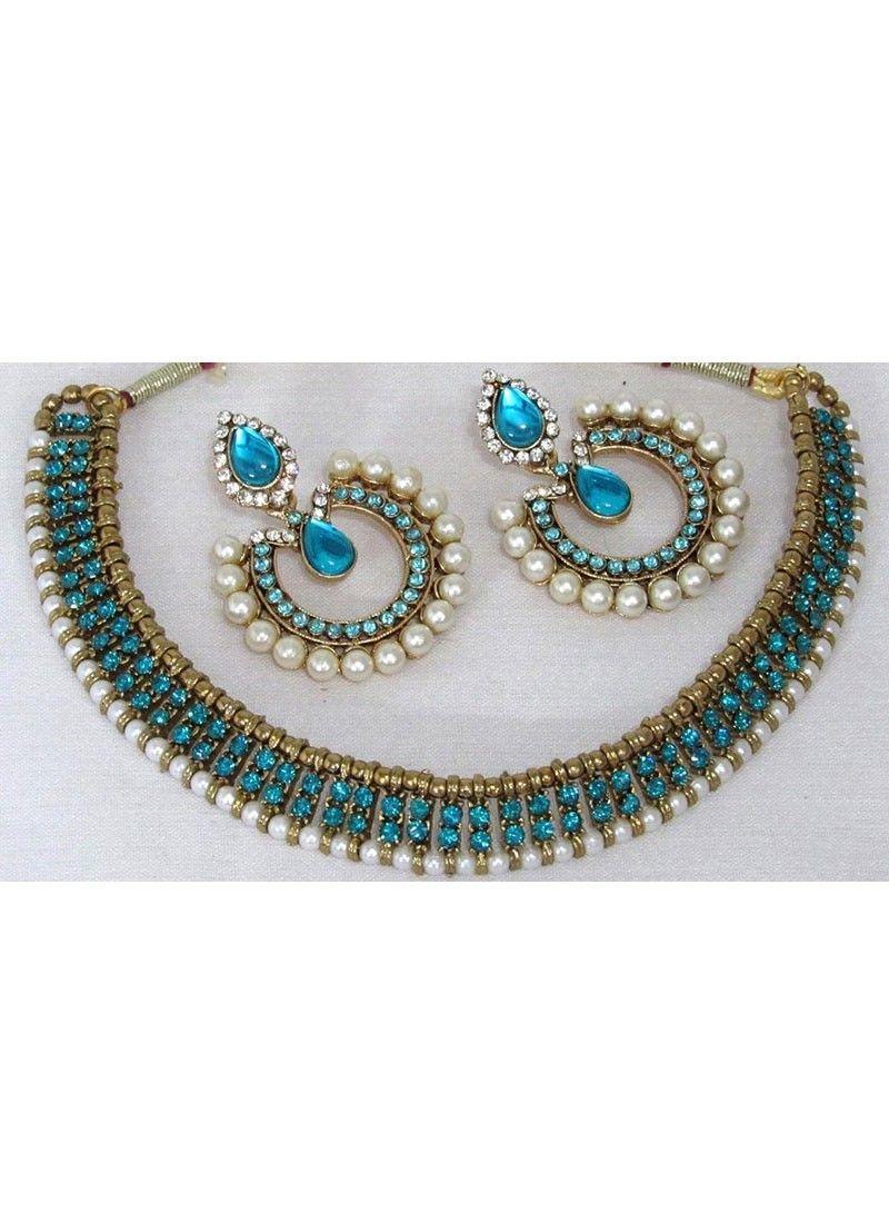 Shop online blue necklacesets chennaistore necklace sets