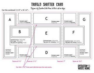 tri fold shutter card measurements Stampin Up Pinterest Tri