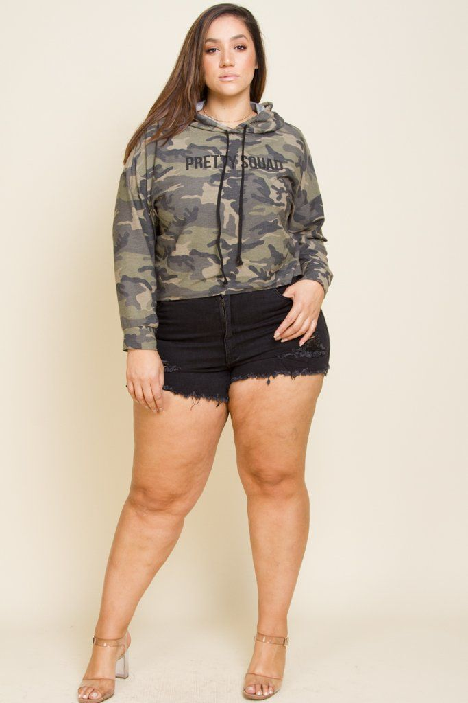 d384d46cc8b Plus Size Pretty Squad Camo Terry Hooded Sweater