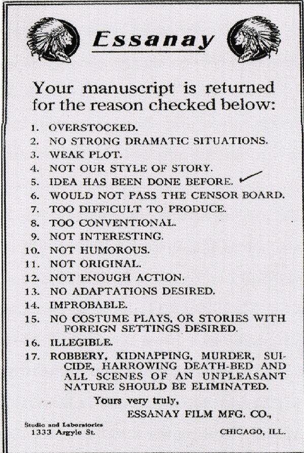 A Harsh, but Efficient, Form Rejection Letter for Silent Film - job rejection letter