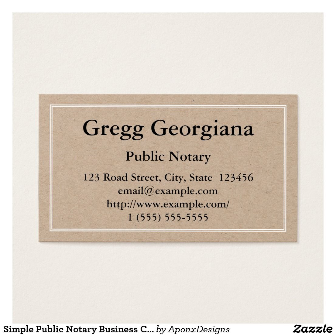 Simple Public Notary Business Card | Customizable Business Card ...