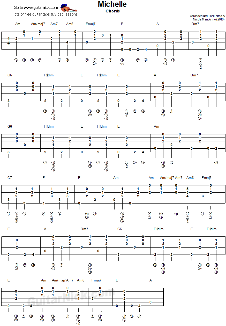 Michelle Beatles Guitar Chords Tablature Piesne Bsne Citty