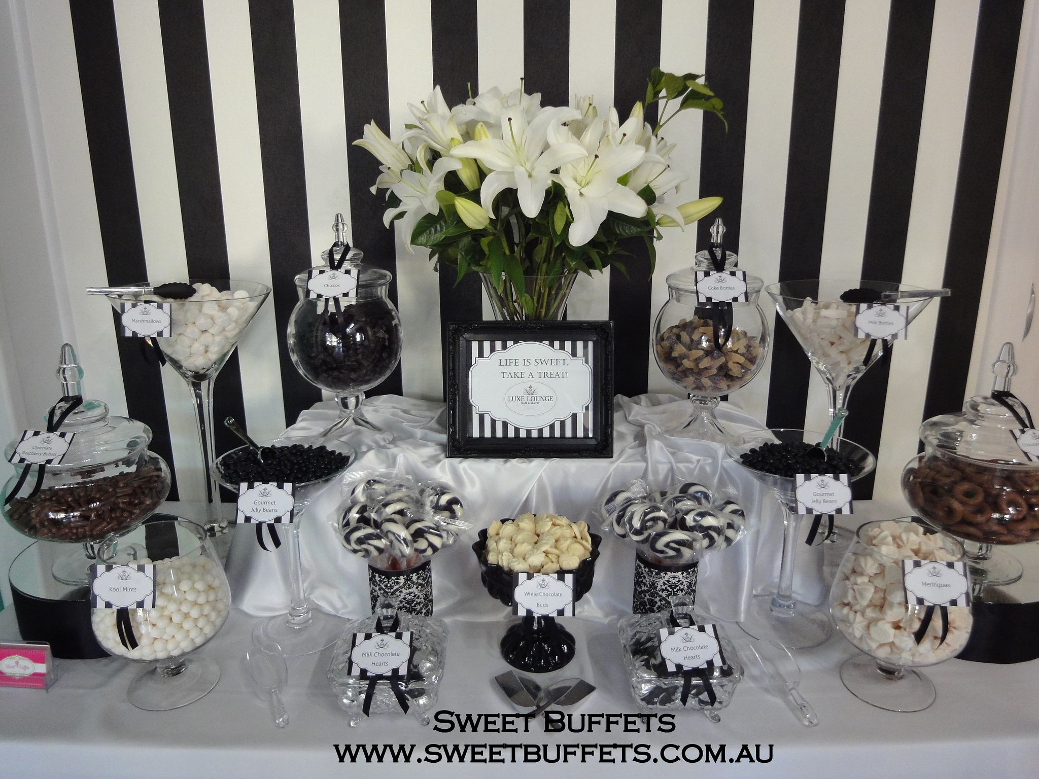 Black And White Lolly Buffet Wedding Candy Table White Candy Table White Candy Bars