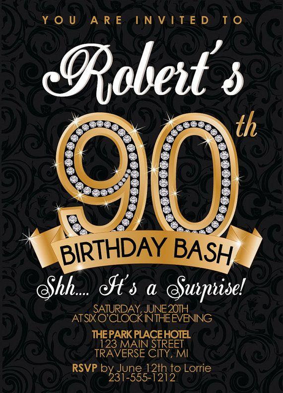 90th Birthday Invitation Diamond Milestone Adult