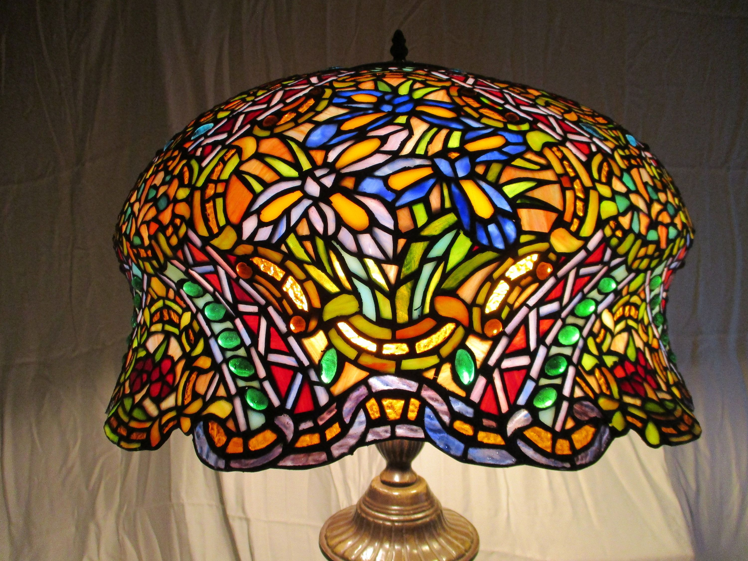 Antique Stunning Large Tiffany Style Stained Glass Table Lamp 3 Bulbs With Pull Strings Bronze Colored Stained Glass Table Lamps Tiffany Style Glass Table Lamp