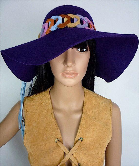 a0a16b8f1e0 HUZZAR DESIGN Gorgeous 60s  70s Hippie style purple felt hat with ...