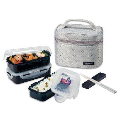 92d35cc77cc2 Lock & Lock Rectangular Gray Lunch Box Set with BPA Free Food ...