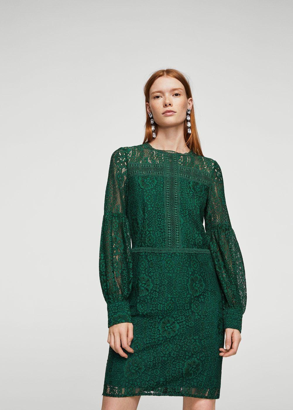Vestido verde manga abullonada