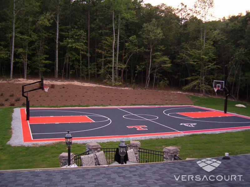 Full court basketball court backyard pinterest for Home basketball court cost