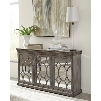 Best Scott Living Accent Cabinet With Circle Mirrored Doors 400 x 300