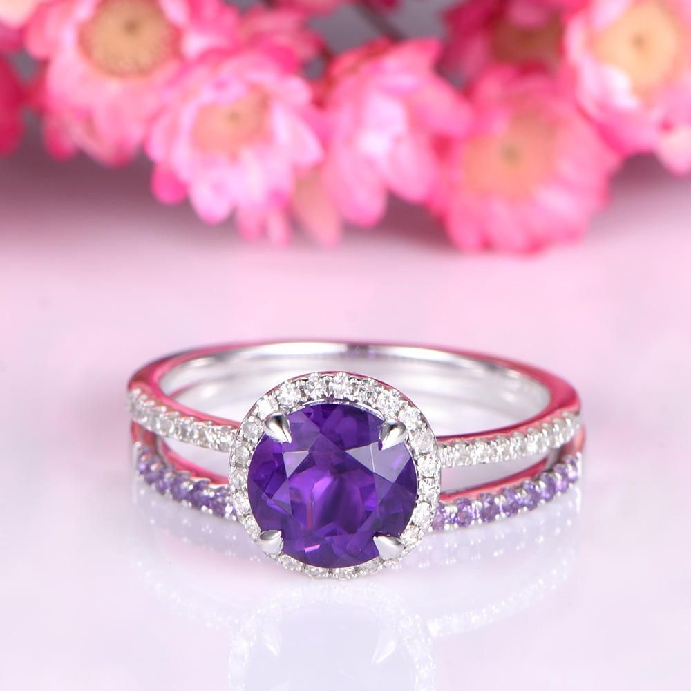 Amethyst ring set white gold amethyst engagement ring 7mm round cut ...