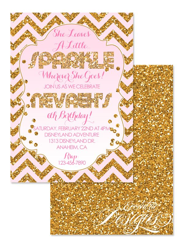 She Leaves A Little Sparkle Birthday Invitation Shimmer And
