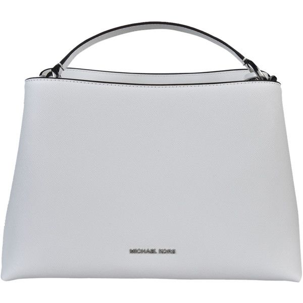 Portia Large Saffiano Tote ($330) ❤ liked on Polyvore featuring bags, handbags, tote bags, optic white, womenbagstotes, tote handbags, tote purses, pocket purse, strap purse and white handbags