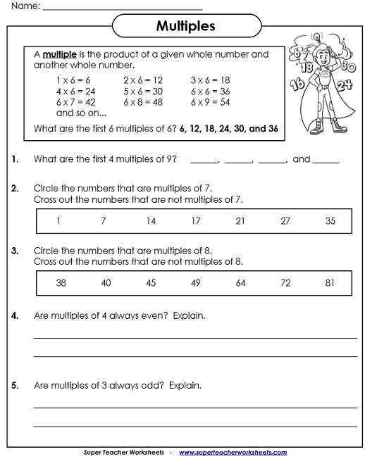 Worksheets On Multiples And Factors Factors And Multiples Worksheets Multiple