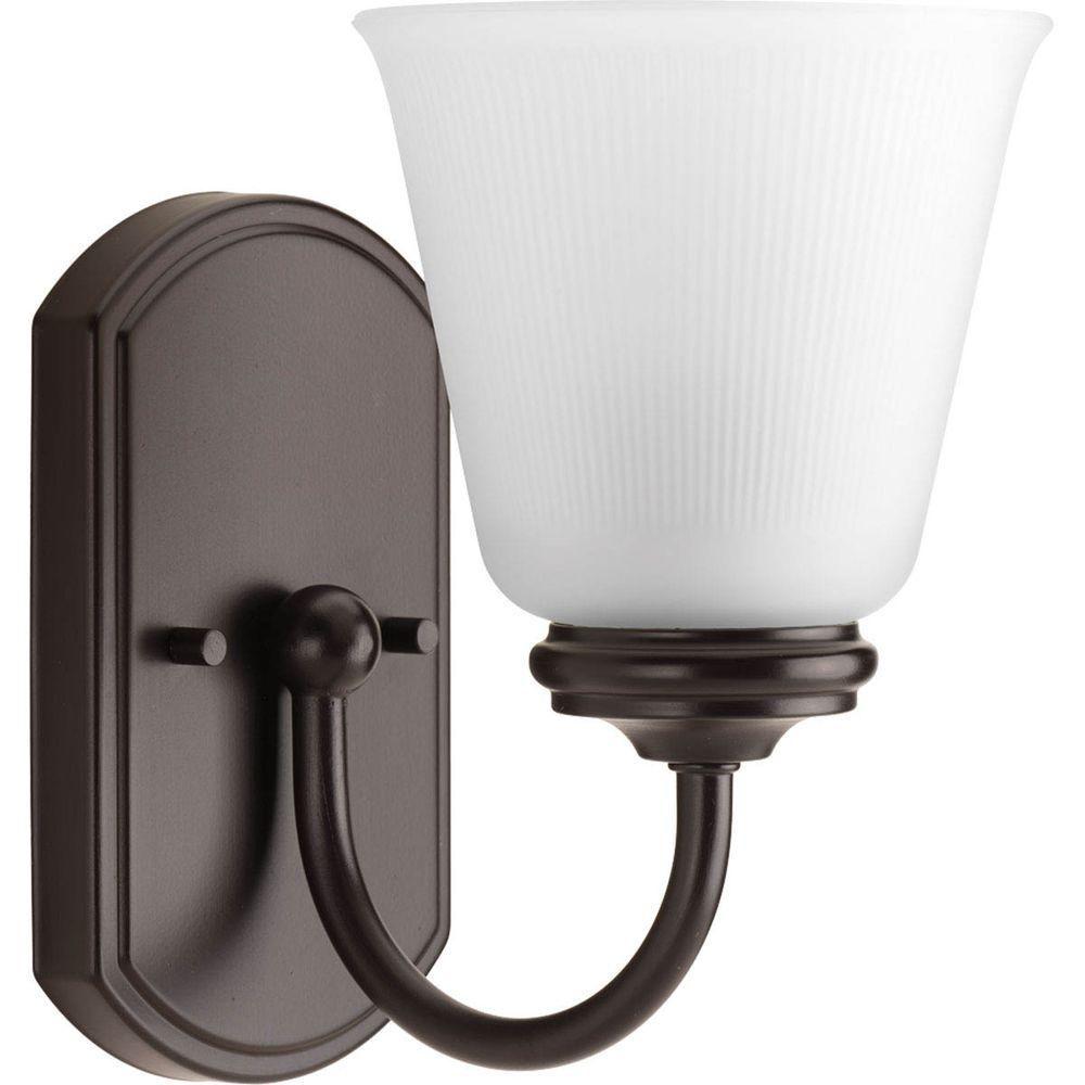Photo of Progress Lighting Keats Collection 1-Licht-Badleuchte aus gebürstetem Nickel mit mattiertem, geripptem Glasschirm P2814-09 – The Home Depot