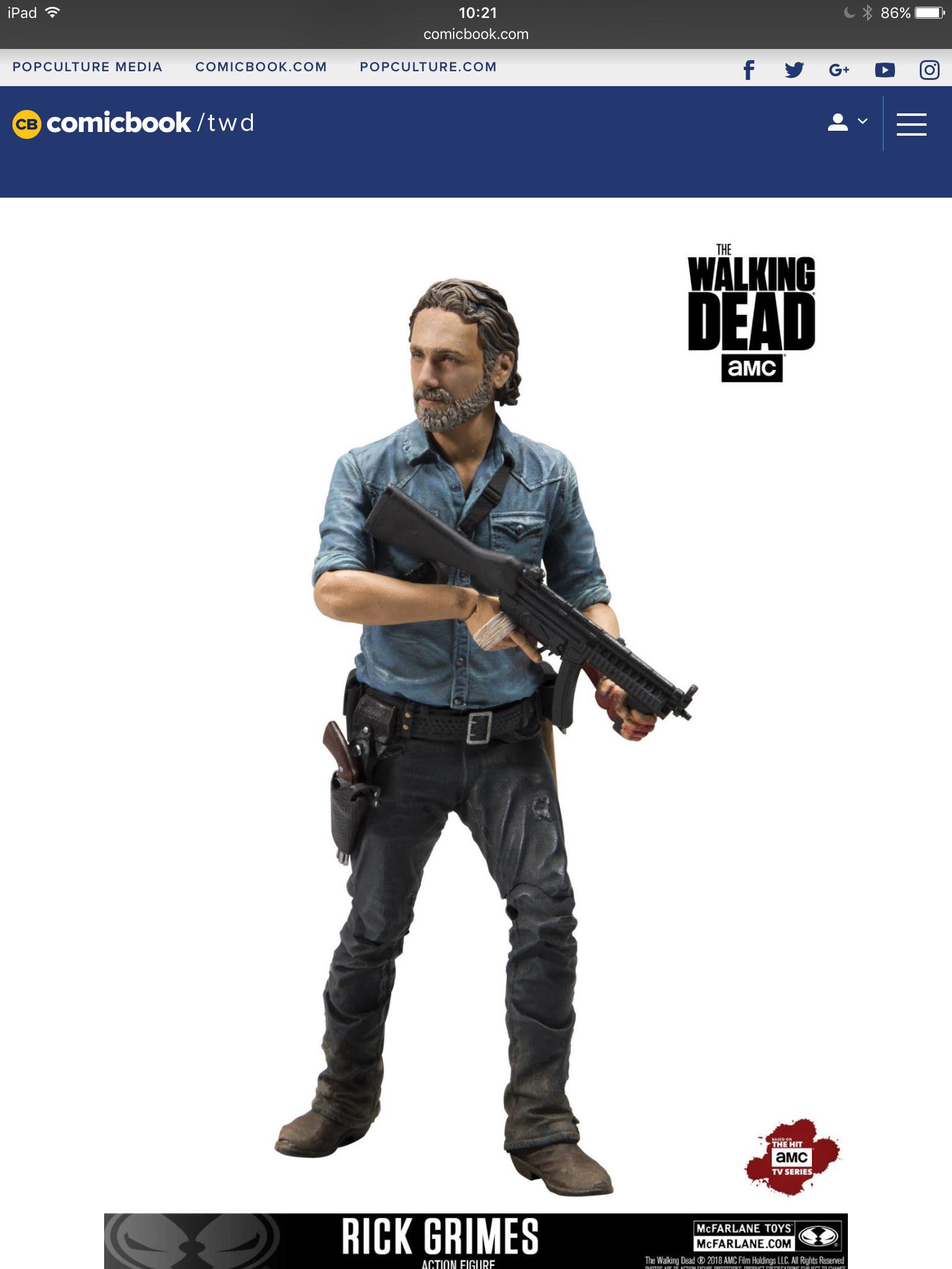 Threezero Rick Grimes Walking Dead headsculpt 1//6th scale toy accessory