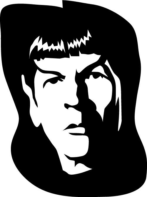 Pumpkin carving template of spock from star trek pin now and carve in october for