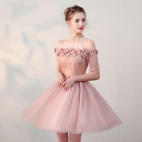 Chic homecoming dresses short pearl pink off-the-shoulder tulle Cheap evening dress AM022