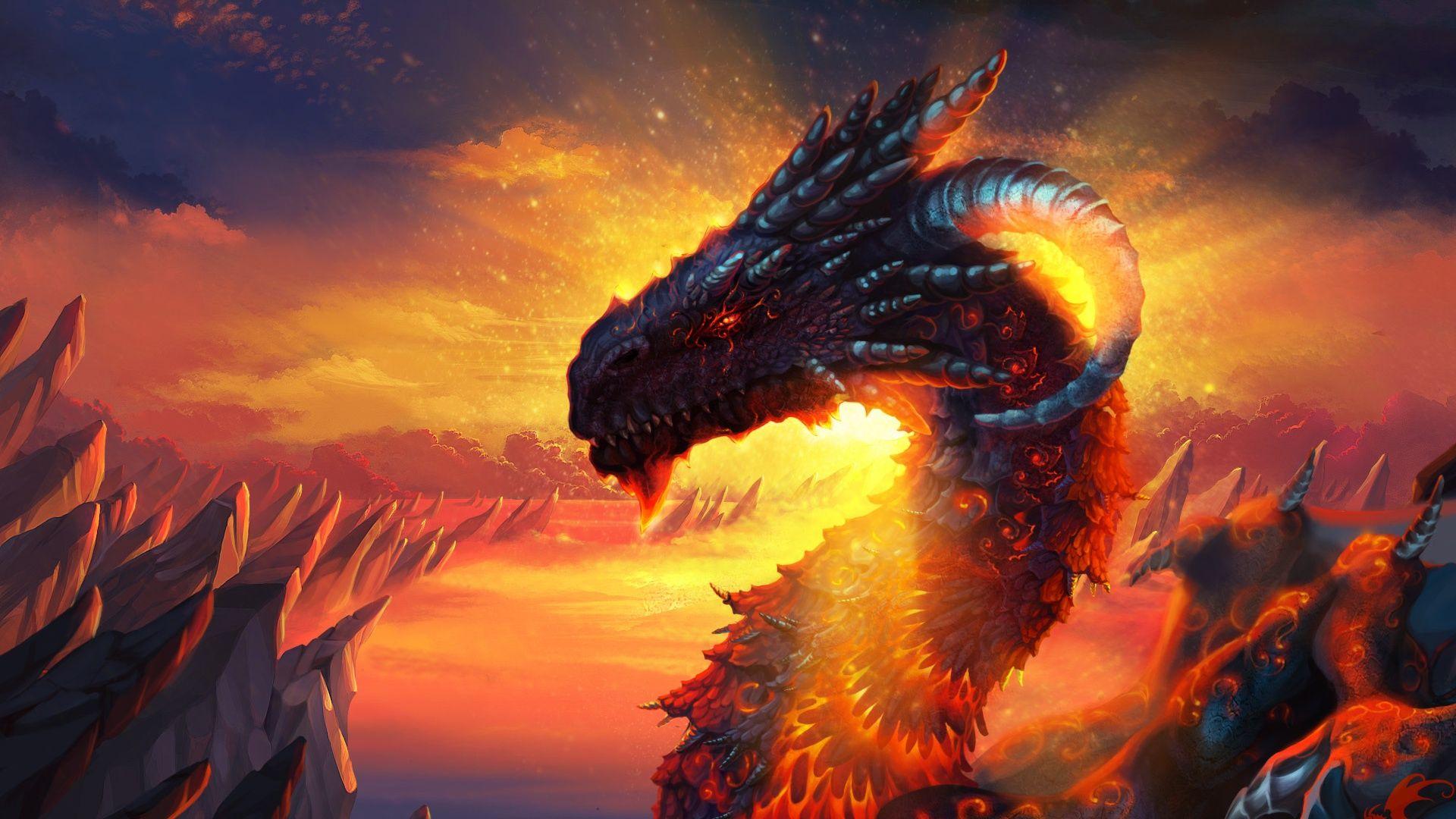 Hd Wallpaper 1920x1080 Dragon Lava Sky Fire 2 Fantasy