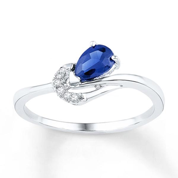 Lab Created Sapphire Diamond Accents 10k White Gold Ring White Gold Rings White Gold Sapphire Diamond